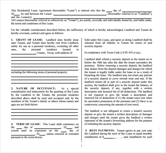 Sample Texas Residential Lease Agreement   Documents In Pdf Word