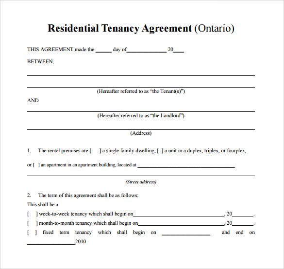 sample of residential agreement