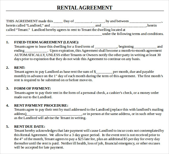 House Rental Agreement 20 Rental Agreement Templates Word