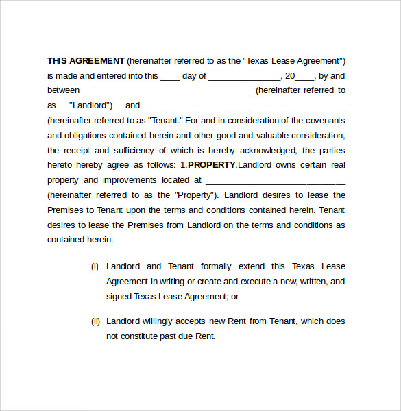 Sample Texas Residential Lease Agreement - 7+ Documents In Pdf, Word