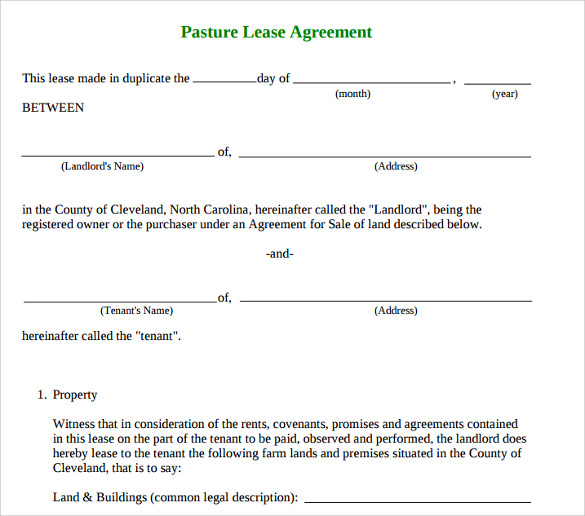 Basic Pasture Lease Agreement