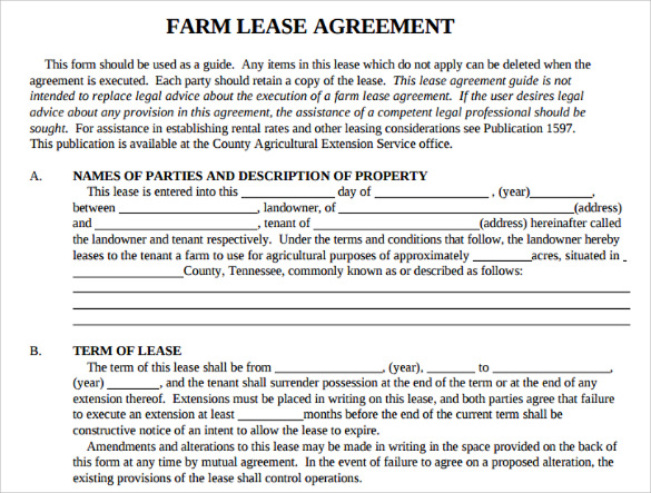 sample basic lease agreement 9 documents in pdf With farm rental agreement template