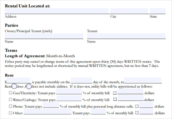 basic room lease agreement template
