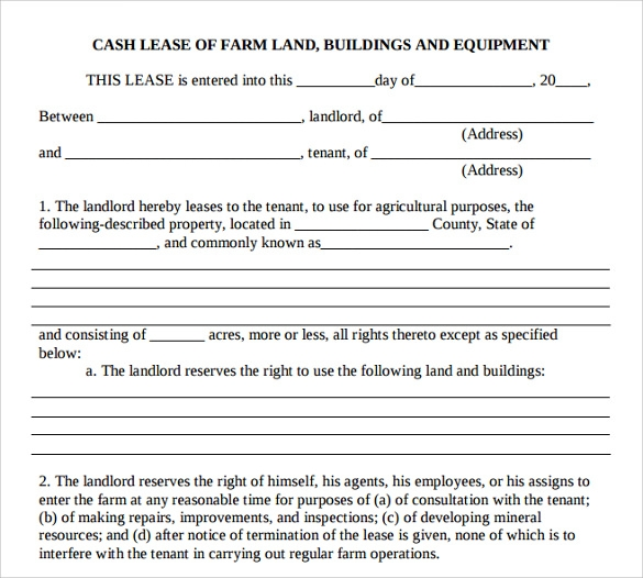10 sample basic lease agreement templates sample templates for Farm partnership agreement template