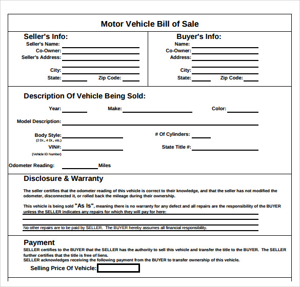 Auto Bill Of Sale Template PDF