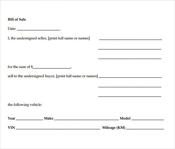 bill of sale for a motorcycle