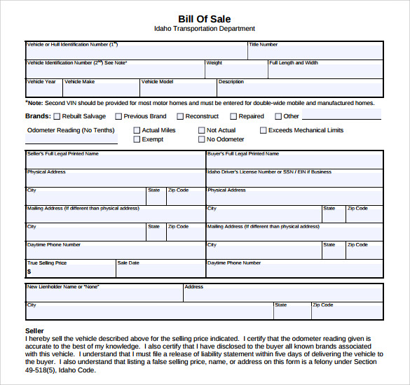 Sample Auto Bill Of Sale - 7+ Documents In Pdf