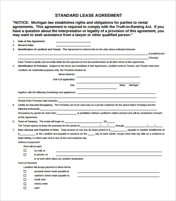 simple standard lease agreement