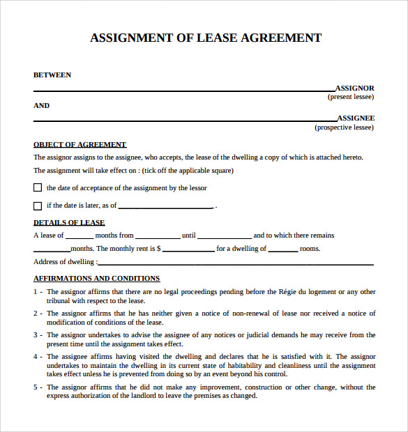 simple assignment of lease agreement