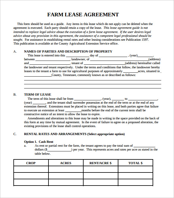 simple farm lease agreement