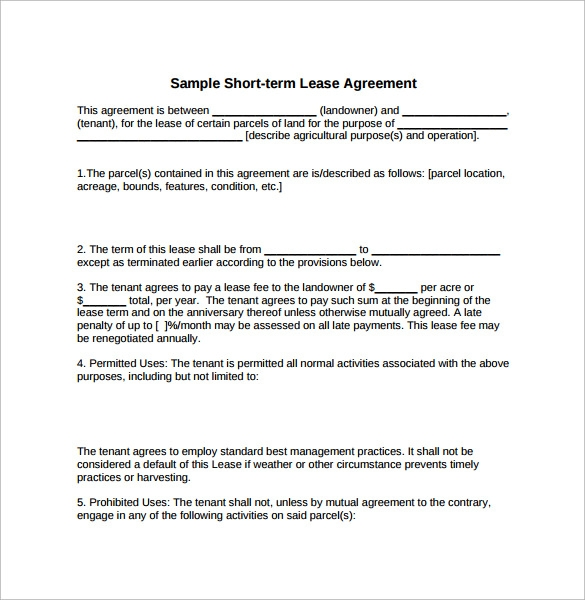 simple short term lease agreement
