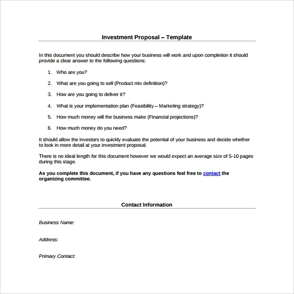 investment proposal template for free