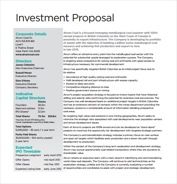 Sample Investment Proposal - 8+ Documents In PDF, Word