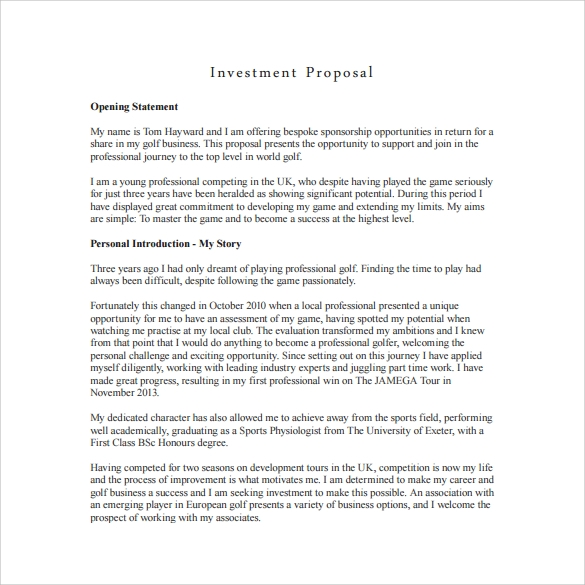 Sample Investment Proposal   Documents In Pdf Word