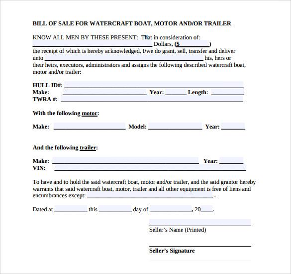 Sample Boat Bill Of Sale Template U2013 8+ Free Documents In PDF , Word