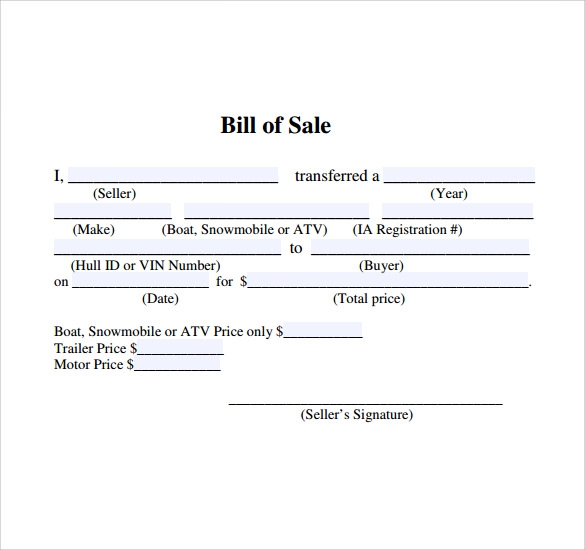 Free Sample Of Bill Of Sale. Sample Boat Bill Of Sale Template 7 Free ...  Free Printable Bill Of Sale For Boat