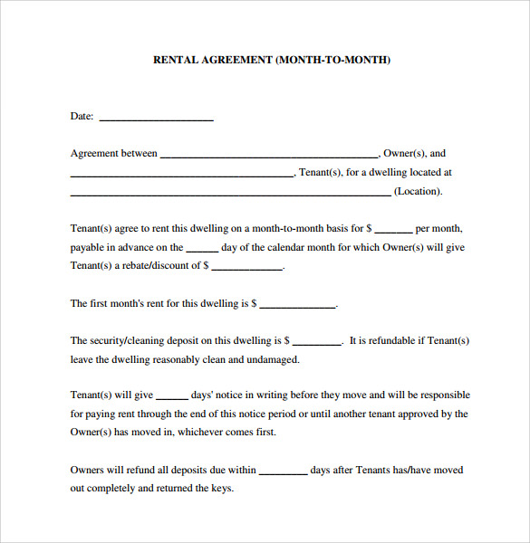 Month To Month Lease Agreement   Download Free Documents In Pdf