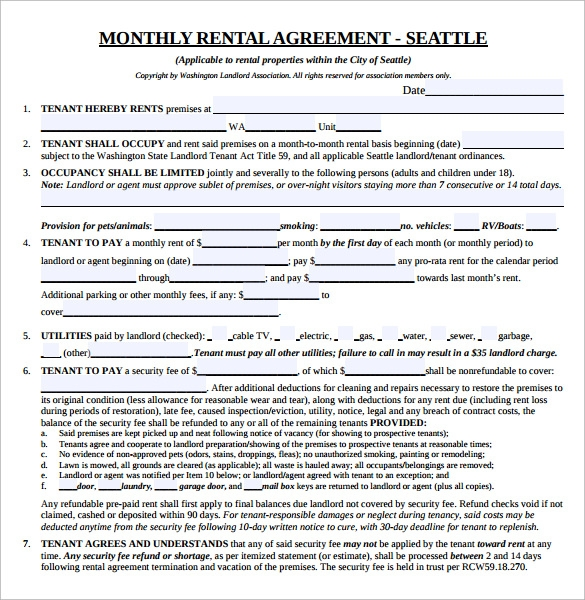 Month To Month Lease Agreement   Download Free Documents In Pdf Word