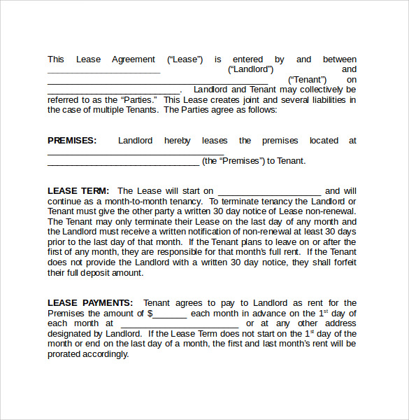month to month rental agreement word form