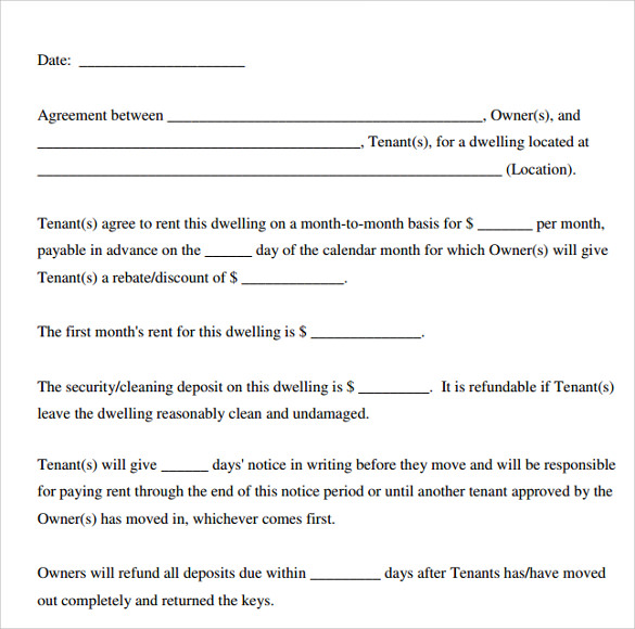 Printable Lease Agreement   Documents Download For Free In
