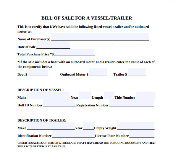 Sample Boat Bill Of Sale Template   Free Documents In Pdf  Word