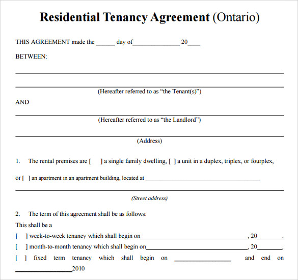 Doc581747 Tenancy Agreement Sample Free free simple rental – Sample Landlord Lease Agreement