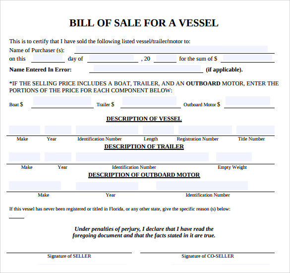 Boat Bill Of Sale Template PDF  Bill Of Sale Template Word
