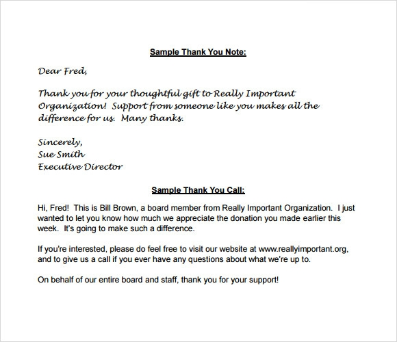 Sample Thank You Notes For Donation   Documents In Pdf Word
