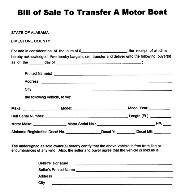 Sample Boat Bill Of Sale Template 8 Free Documents In