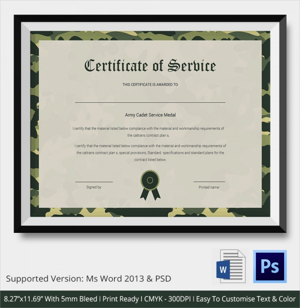 Sample Certificate Of Service Template   Documents In Pdf  Word
