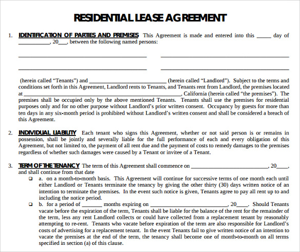 Printable Residential Lease Agreement Template  Blank Lease Agreement Free