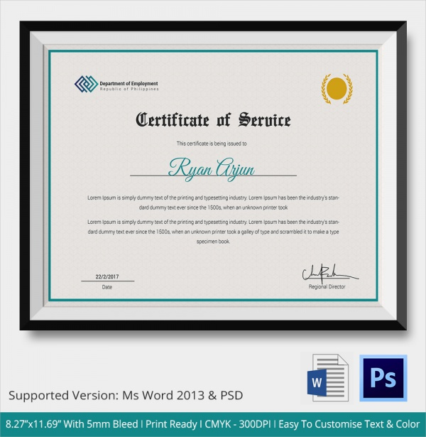 Certificate of service template certificate of appreciation free sample certificate of service template documents in pdf yadclub