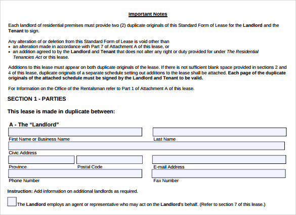 simple standard lease agreement1