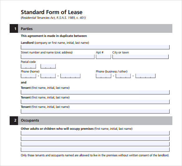 example of standard lease agreement