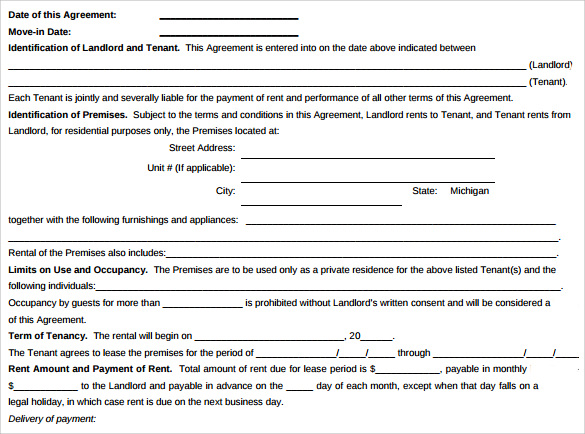 standard lease agreement in pdf