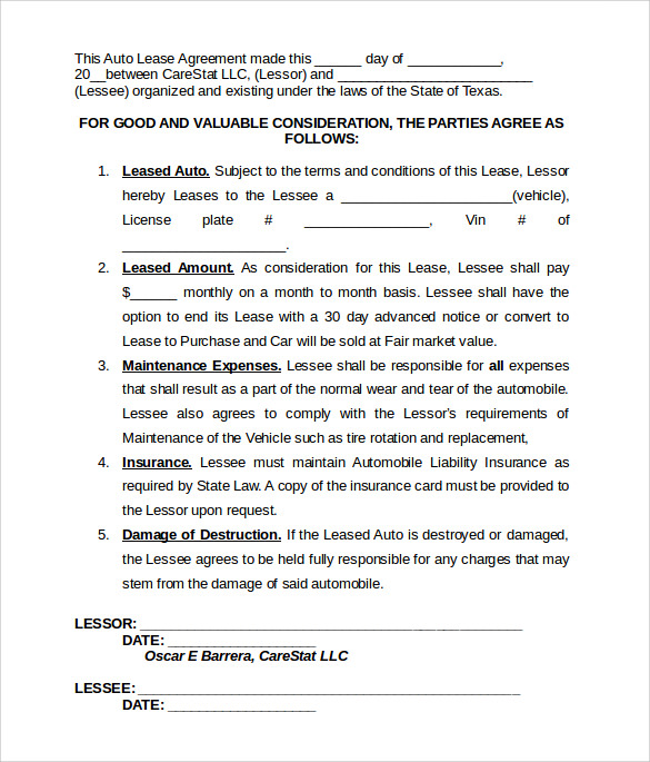 Vehicle lease template for Motor vehicle lease agreement template