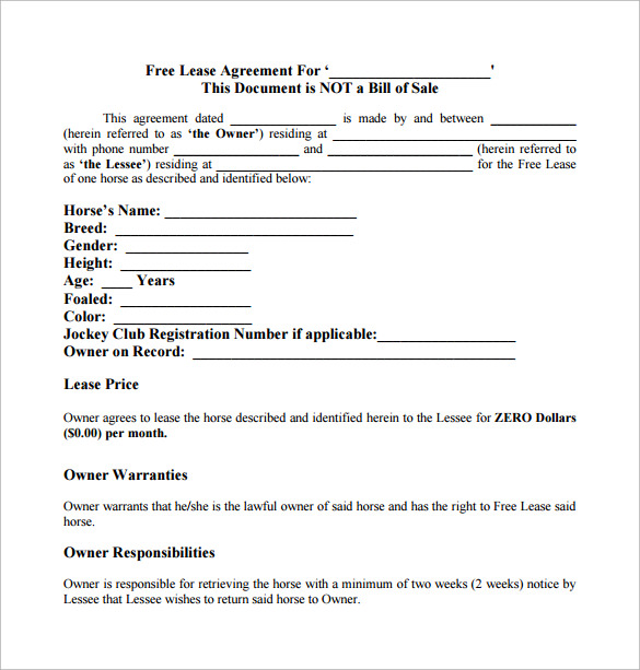 Sample Horse Lease Agreement 7 Documents in PDF – Sample Horse Lease Agreement Template
