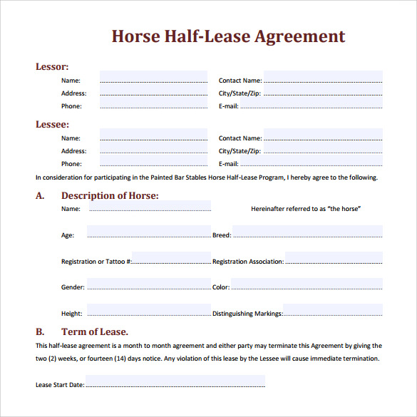 Sample Horse Lease Agreement Template Horse HalfLease Agreement