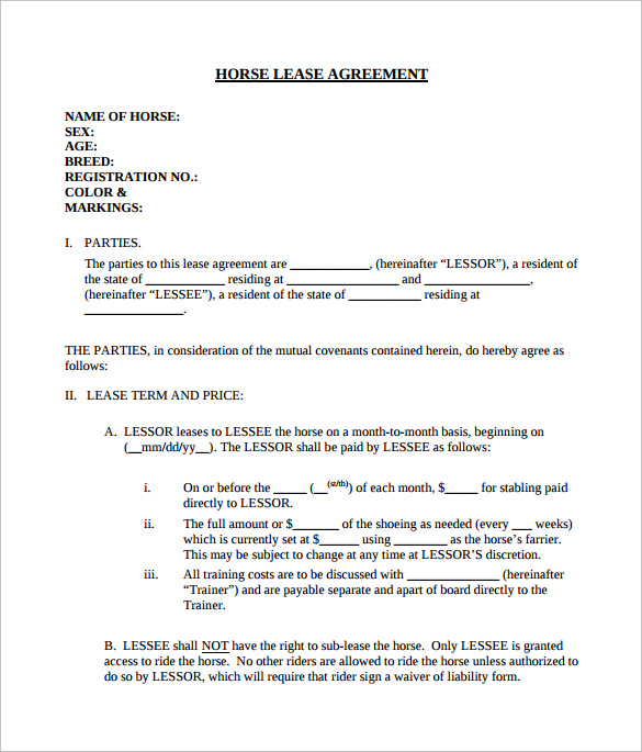 8+ Sample Horse Lease Agreements | Sample Templates