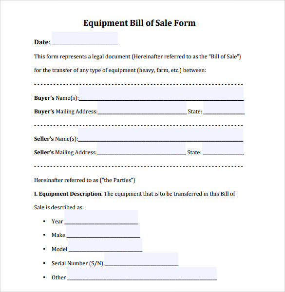 Sample Equipment Bill of Sale Template - 8+ Free Documents ...