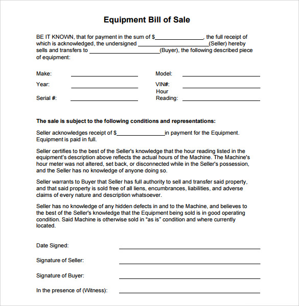 9 Equipment Bill Of Sale Templates Sample Templates