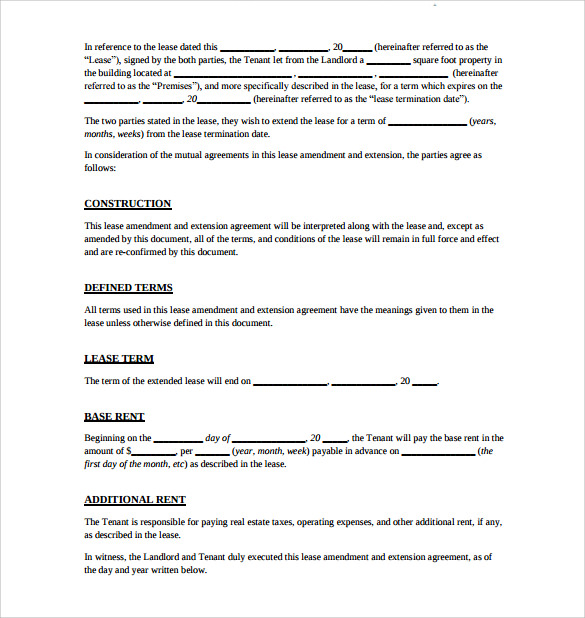 Lease Extension Agreement- 8+ Download Free Documents In Pdf