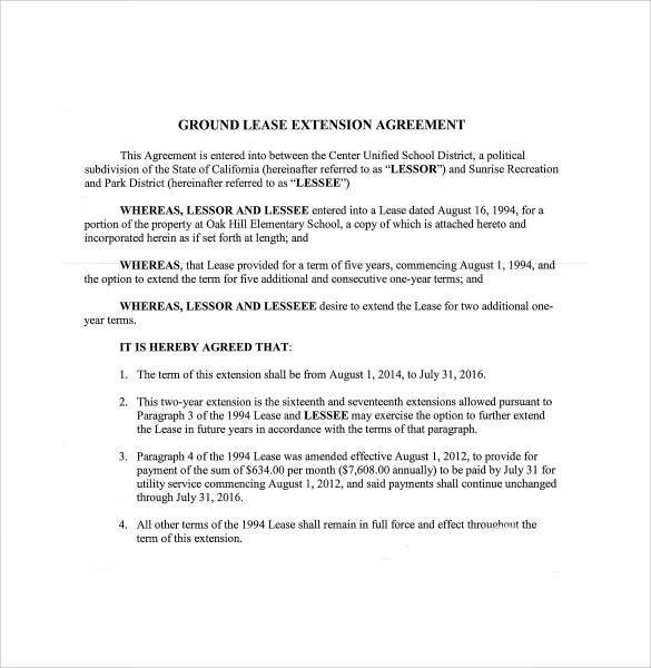 Lease Extension Agreement 8 Download Free Documents in PDF – Lease Extension Agreement