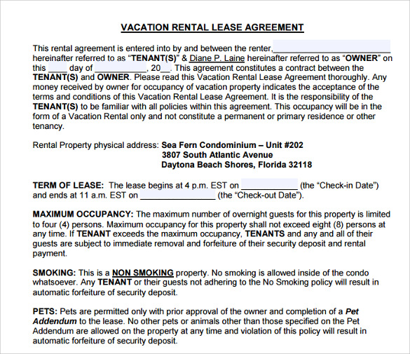 Vacation Rental Agreement Free Download Short Term Seasonal