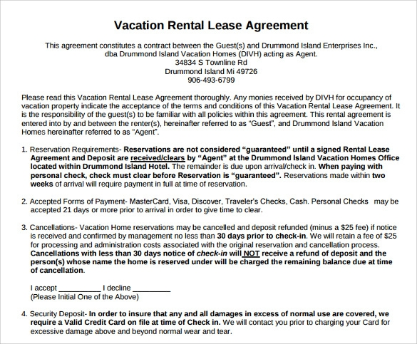 Superb Vacation Rental Agreement Template