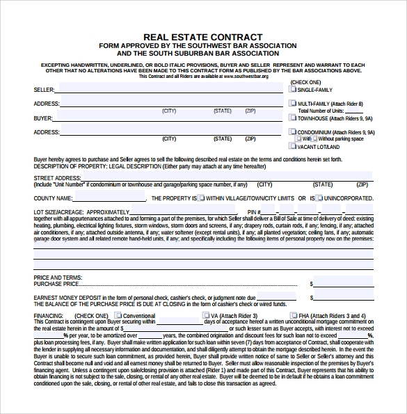 example of real estate contract
