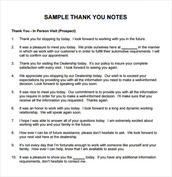 Sample Thank You Note For Gift   Documents In Pdf Word