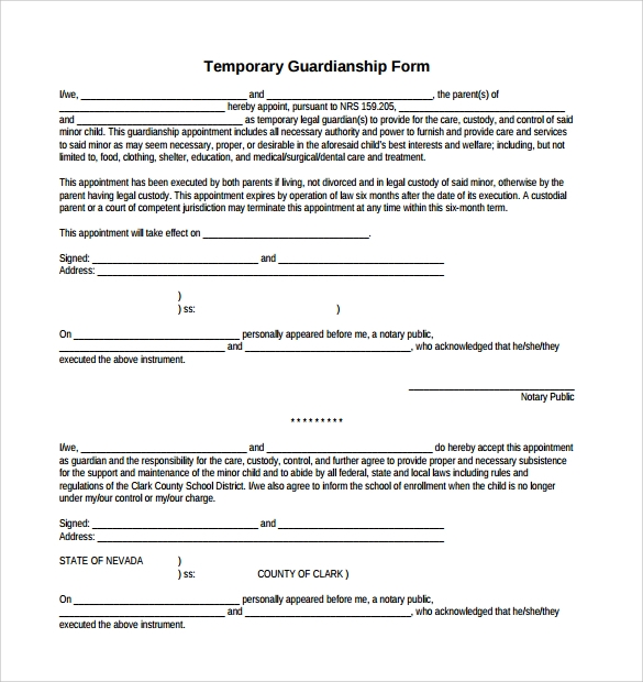 Sample Temporary Guardianship Form   Download Documents In Pdf