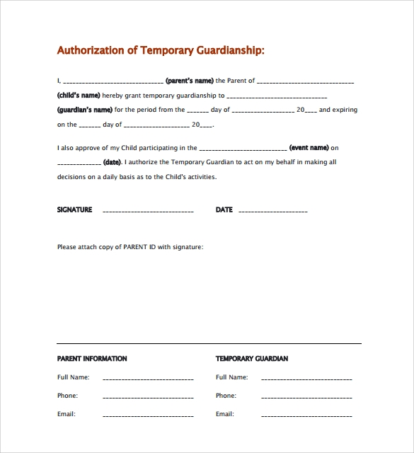 9 Temporary Guardianship Form Templates To Download