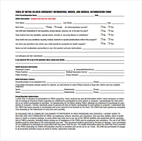 medical waiver authorization form